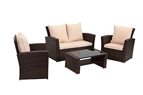 Esterno Living Brown Rattan Garden Furniture Sofa Set Brown Tan Sofa 4 Seater Wicker Patio Weave Conservatory Luxury Sun Room
