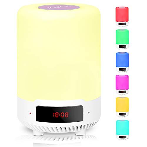 LED Nachtlicht Kinder Nachttischlampe mit Bluetooth Lautsprecher, USB Aufladbar Tragbare Tischleuchte Dimmbar Tischlampe Nachttischlampe mit Dimmer und Touch Sensor