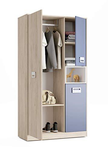 Kleiderschrank Leo 3-türig Regalfach Eiche Aurora + Blau inkl. Vollausstattung Kinderzimmerschrank 100x190x50 Schlafzimmer Schrank Holz Graublau