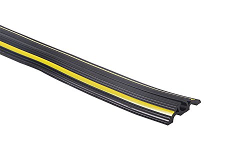 Pro²Tect Schlauch- und Kabelbrücke BS-NCOP-10, aus stabilem PVC, Länge 6 m, Tunnel- Durchmesser: 1 x 20mm und 2 x 5mm, Schwarz mit gelben Reflektor-Streifen