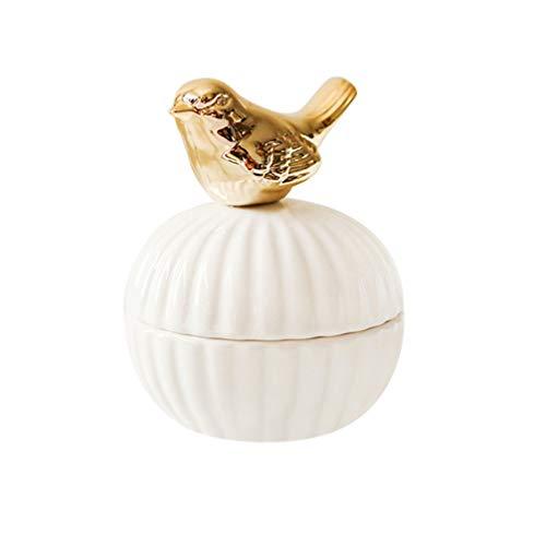 Caixa organizadora de joias de cerâmica Amosfun Caixa de lembrancinhas de casamento caixa de presente com estatueta de pássaro, decorações de casa