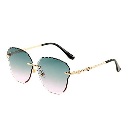 JINZUN Gafas de Sol sin Montura Visera Recortada Personalidad Gafas de Sol sin Montura Gafas Anti-UV Marco Dorado Superior Verde Polvo Inferior