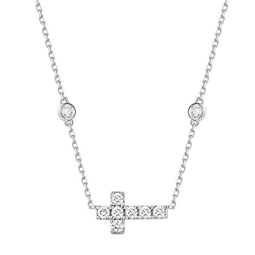 Carleen 14K Solid Real White Gold Genuine Diamond Dainty Delicate Cute Simple Sideways Crucifix Cross Pendant Necklace For Women Girls (1/3cttw, Clarity SI2, Color I-J), 16' + 2' Extender