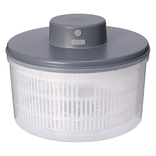 Fenteer Conveniente centrifugadora eléctrica para ensaladas, Secadora de Verduras Recargable, Almacenamiento de Secado rápido, Secado por centrifugación, Gris