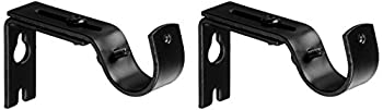 Amazon Basics Adjustable Curtain Rod Wall Bracket Hooks Set of 2 Black