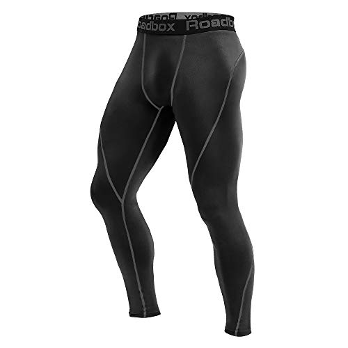 Roadbox Men's Compression Pants - Tights Base Layer Cool Dry Leggings for Sports, Workout, Gym, Fitness, Running, Cycling, Yoga, Hiking, Basketball (Black, L)