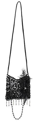 shoperama Charleston Handtasche schwarz Flapper Kostüm-Zubehör 20er Jahre Damen-Tasche The Roaring Twenties 20\'s Gatsby Girl Pailletten Feder Perlenkette