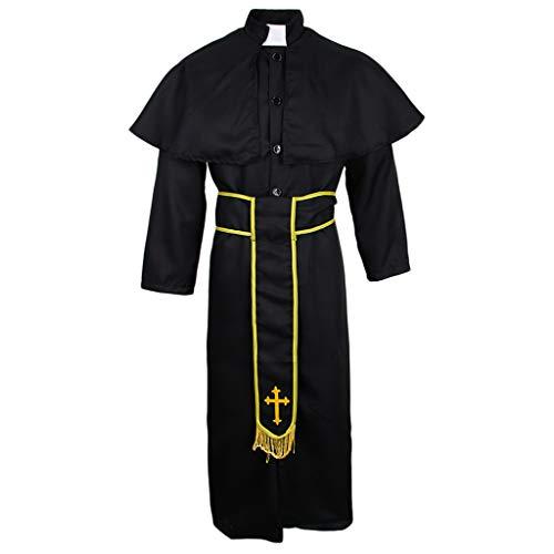 sharprepublic Männer Pfarrer Priester Halloween Kostüm Outfit Kirche Kostüm Cross Robe Anzug - M