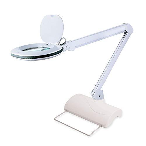 Lumeno 861XGR Lupenleuchte Arbeitsplatzlampe mit großer ovalen Linse 110x150mm perfekt als Lesehilfe, für die Kosmetik oder zum Löten erhältlich in 3 und 5 Dioptrien 60 LEDs 5 mit Tischstativ