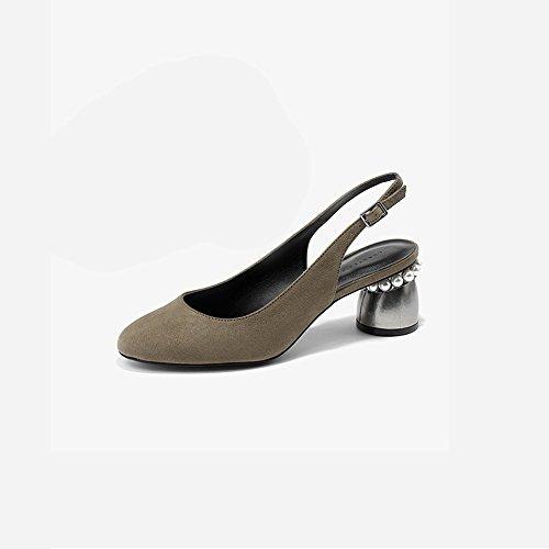 XUERUI Graue Retro-kleine dick mit Perlen High Heel Sandaletten Pumps (größe : EU39/UK6/CN39)