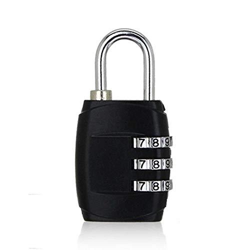 ERKDH 3 Dial Digit Password Combination Padlock Suitcase Luggage Metal Code Lock Mini Coded Keyed Anti Theft Locks 1 Pcs,Black