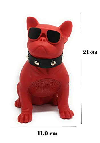 Altavoz Perro Bulldog Frances inalambrico Bluetooth portatil, Tarjeta SD, Pendrive, FM Radio, mp3 Tamaño M (Rojo)
