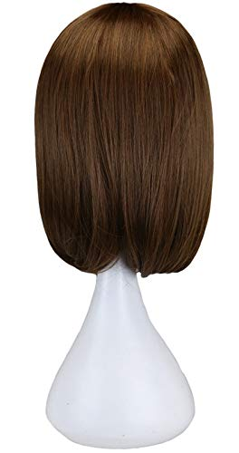 Perruque Courte Droite Natrual Femme Noir foncé Brun Perruques de Cheveux synthétiques (Color : Light Brown, Stretched Length : 10inches)