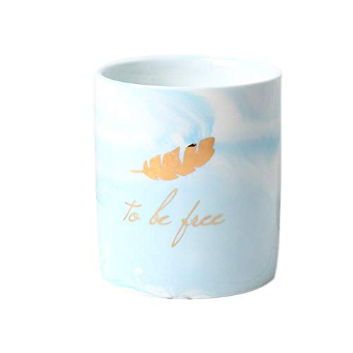 Portalápices de cerámica QWEA, para escritorio de niñas, portalápices para niños, para oficina (azul cielo)