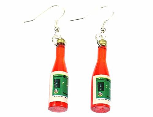 Miniblings Flaschen Ohrringe Weinflasche Wein Erdbeerwein Mini Fläschchen rot - Handmade Modeschmuck I Ohrhänger Ohrschmuck versilbert
