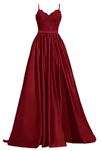 Apxpf Damen Spitzen-Ballkleid, lang, aus Satin, mit Schlitz, formelle Abendkleider mit Taschen - Rot - 36