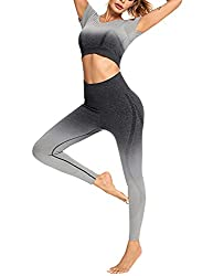 Sykooria Damen Sportanzug Jogginganzug Set, Sport BH und Hohe Taille Leggings lang Yoga Outfit Bauchkontrolle Trainingsanzug zweiteiliger Slim Fit Bequem Leicht weich nahtloser Farb-tonübergang