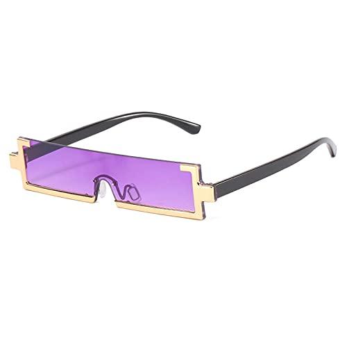 Gafas De Sol Gafas De Sol Rectangulares De Moda para Mujer, Medio Marco, Lentes De Sol De Una Pieza, Gafas De Sol Cuadradas Pequeñas De Moda para Hombre, Gafas De Señora C6Gold-Purple