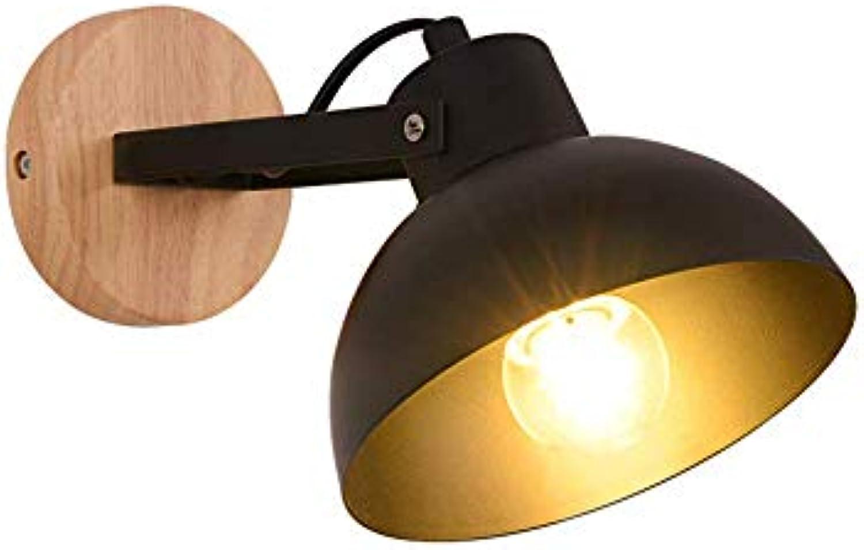 GONGFF Amerikanischen Stil Retro Nordic Einfache Kreative Drehbare Eisen Kunst Wandleuchte Licht Dekoration Wohnzimmer Schlafzimmer Nachttischlampe, Schwarz