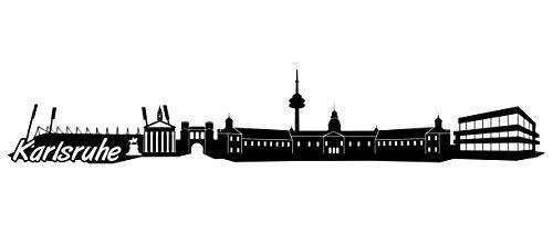 Samunshi® Karlsruhe Skyline Wandtattoo Sticker Aufkleber Wandaufkleber City Gedruckt Karlsruhe 120x22cm schwarz