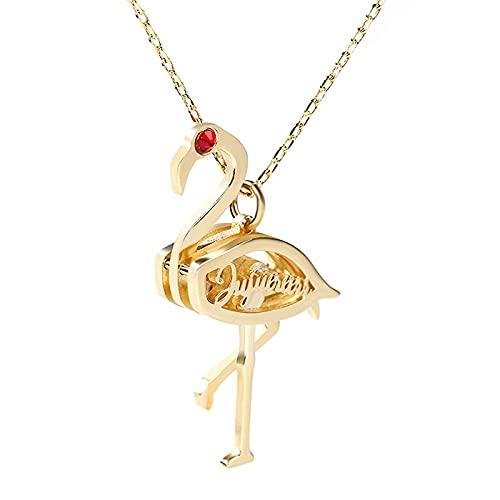 Glooraca Collares de flamencos para mujer, piedras natales de flamenco, collares colgantes con nombre personalizado, regalos para mujeres y niñas, plata,