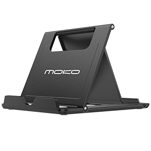 MoKo Phone/Tablet Stand, Foldable Desktop Holder Fit with Phone 12/ iPad 9/ iPad Mini 6 Phone 11 Pro Max/11 Pro/11, Phone Xs Max, Phone SE, iPad Pro 11, 10.2, 12.9,Air 4/3, Mini 5, Black (Large)
