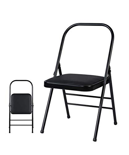 Qarm Yoga Chair Prop for Iyengar,Backless Yoga Chair for Flexibility and Strength Training with MS Frame and Non-Slip Feet Covers.100kg Capacity, Black