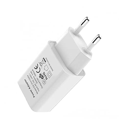 Universal 1-Port Phone USB Plug Adaptador VIAJE VIAJE USB Cargador de pared Compatible con iPhone X/8/8 Plus/7/6/6 Plus,Samsung S8/S7 Edge (blanco,enchufe del Reino Unido)