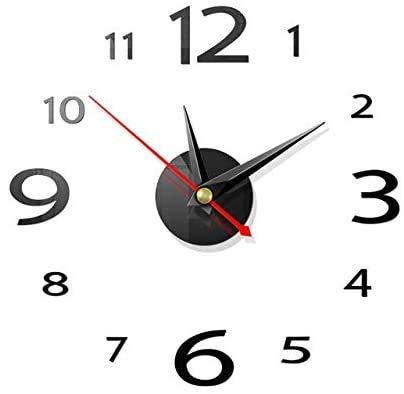 FANDE 2 Piezas Reloj de Pared 3D, DIY Reloj de Etiqueta de Pared Decoración 3D Silencioso DIY de Material Acrílico para Ministerio del Interior Decoraciones (Plata, Negra)