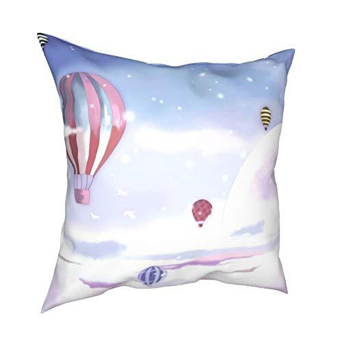 iksrgfvb Pillow Case Cushion Covers Kids Dream Hot Air Balloon Cartoon Square Pillowcases for Living Room Sofa 18 x 18 inch