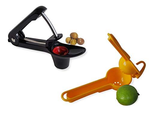Entkerner für Oliven, Kirsche, Mirabelle, Schaft aus Edelstahl und Halterung aus widerstandsfähigem Silikon, mit Zitronenpresse für Zitrone, Grün, Gelb, Orange, Zitrusfrüchte, Mojito, Saft, Multifruit