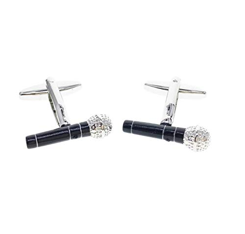 Musical Instrument Microphone French Shirts Music Microphone Cufflinks Cuff lings Cuff Buttons Cuff Link For Men's and Women's / AZCFMU017 (Black)
