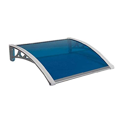 Canopy Front Door Awning Shelter Rain Snow Patio Porch Shade Roof Cover PC Polycarbonate Sheet For House Fron (Color : Blue, Size : 80cmx80cm)