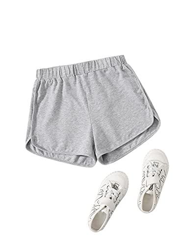 Romwe Girl's Elastic Waist Athletic Running Shorts Kids Workout Shorts Light Grey 10Y