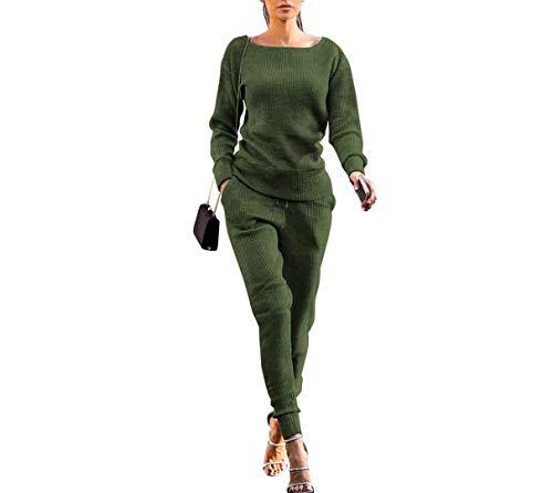 Herbstliche Und Winterliche Einfarbige Urban Casual Sweater-Hosen FüR Damen Im Herbst Und Winter Passen Zum Zweiteiligen Anzug