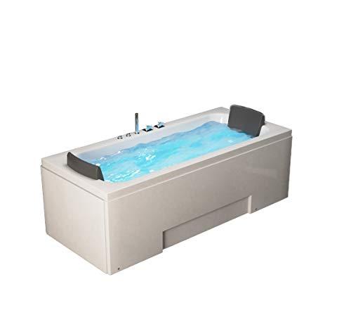 Supply24 Whirlpool Badewanne Island 170 x 75 x 60 cm Wanne mit 8 Massage Düsen + LED - für Eckmontage rechts + Links Hot Tub Eckwanne oder freistehend an nur 1 Wand Spa für 2 Personen