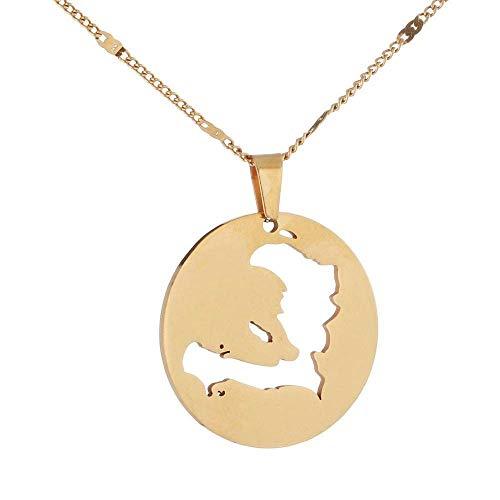 Collar De Mapalindo Ahueca hacia Fuera El Contorno De Haití Mapa De Cadena De Oro Colgante Unisex Collar Único Encanto Étnico Brillante Joyería para Mujeres Hombres Amigos Niños Viajes Conmemor