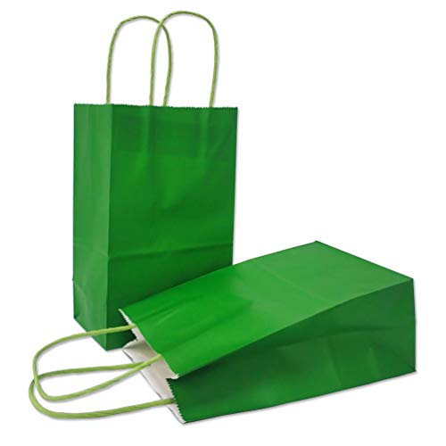 AZOWA Gift Bags Small Kraft Paper Bags with Handles (5 x 3.1 x 8.2 in, Green, 25 Pcs)