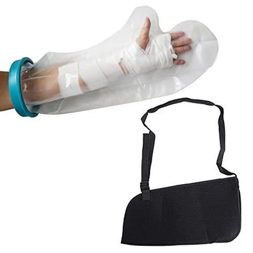 Mikuru 骨折用 サポーター 防水 ギプス カバー セット 腕 手首 固定 腕吊り 三角巾 お風呂 ギブス用 黒 2点セット