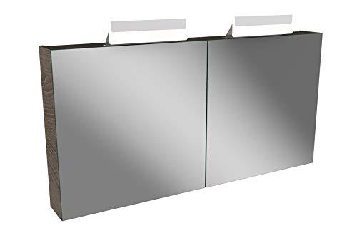 Lanzet LED Spiegelschrank L1 / Badschrank mit 2 LED Leuchten/Maße (B x H x T): ca. 120 x 68 x 14,5 cm/Möbel fürs Bad oder WC/Bad Schrank mit 2 Türen/Korpus: Braun dunkel/Front: Spiegel
