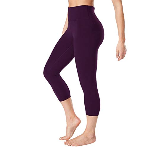 Gayhay High Waisted Capri Leggings for Women - Soft Slim Tummy Control - Exercise Pants for Running Cycling Yoga Workout (Vintage Violet01, Small-Medium)