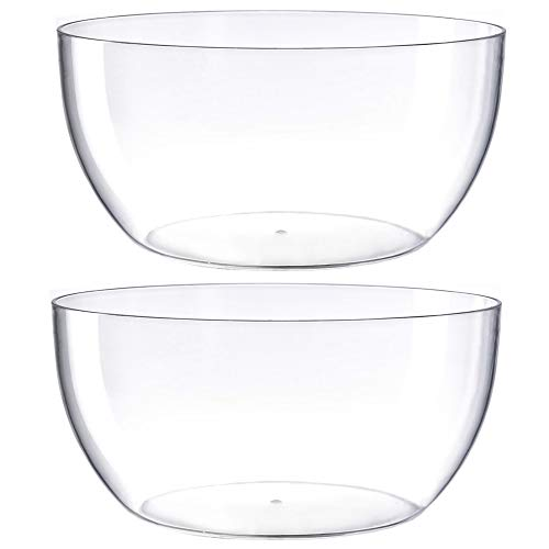 Large Salad Bowl, Circular Shaped In Premium Acrylic Break Resistant Clear, 146 Ounce 2 Count