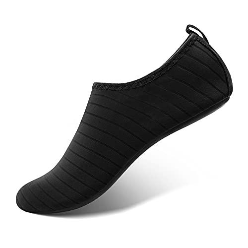 SEEKWAY Water Shoes Women Men Adult Quick-Dry Aqua Socks Barefoot Non Slip for Beach Swim River Pool Lake surf SK001 Black Size 8-9 W/7-8 M