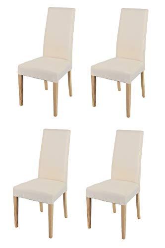 t m c s Tommychairs - Set 4 sillas Chiara para Cocina, Comedor, Bar y Restaurante, solida Estructura en Madera de Haya Color Natural y Asiento tapizado en Tejido Color Marfil