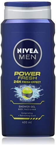 NIVEA MEN Power Fresh Gel de Ducha (6 x 400 ml), Gel de Ducha Hidratante con Aloe Vera, Gel de Ducha Todo-en-1 para Hombres, Energising NIVEA MEN
