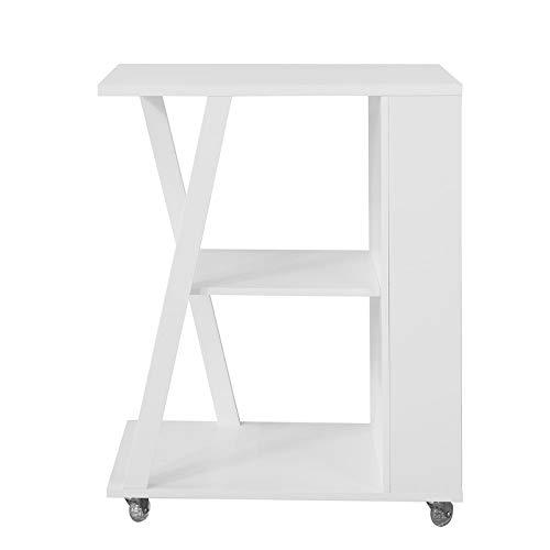 SoBuy FKW77-W Tavolino da Divano con Ruote Carrello Estetista L38*P60*A77cm Bianco