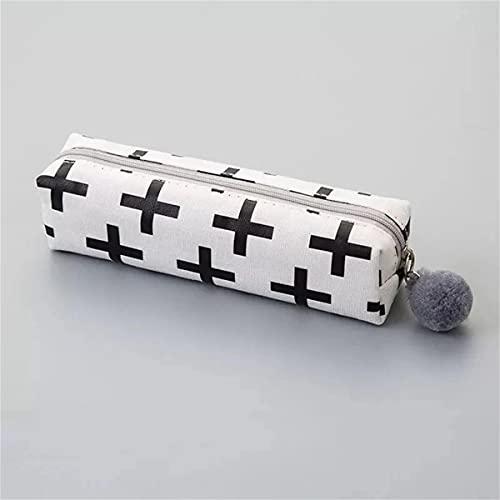 Been Estuche cuadrado para lápices con bolas de pelo y material de oficina para estudiantes, creativo, caja de papel de carta (negro Plus)