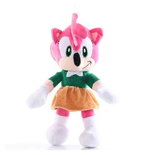 CHENPINBH Plüschtiere New Sonic Plüschspielzeug Amy Rose Sonic-Shadow-Silber Die Igel-Tails Knuckles Die Echidna weichen gefüllten Tiere Puppe Kindergeschenke (Color : Pink, Height : 28 30CM)