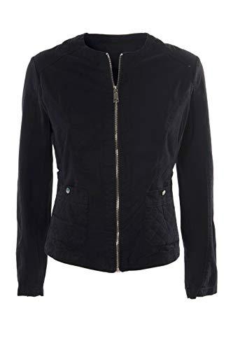 JOPHY & CO. Chaqueta corta de mujer 100% algodón con bolsillos, cremallera, sin cuello (cód. 33120)