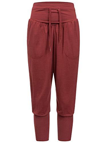 super.natural Damen Yoga-Hose, Mit Merinowolle, W HAREM PANT , Größe: M, Farbe: Bordeaux meliert